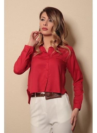 Reyon Uzun Kollu Kadın Gömlek  Pudra Kırmızı